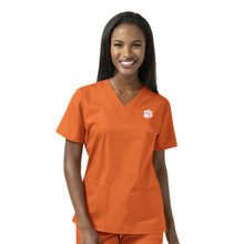 Clemson Women's V Neck Scrub Top