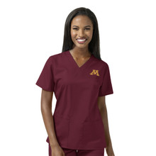 Minnesota Golden Gophers  Women's Maroon V Neck Scrub Top