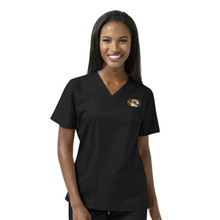 University of Missouri Tigers Women's Black V Neck Scrub Top