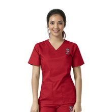 University of Wisconsin Badger Logo Women's V Neck Scrub Top