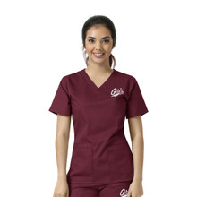 University of Montana Grizzlies Maroon Women's V Neck Scrub Top
