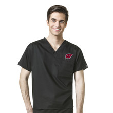 Wisconsin Badger's Men's V Neck Scrub Top(6 piece Wisconsin W Minimum)*