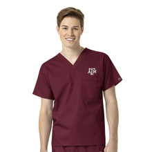 Texas A&M Maroon Men's V Neck Scrub Top