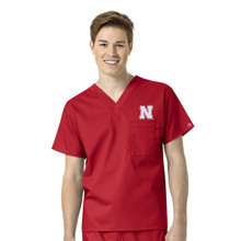 University of Nebraska Cornhuskers Men's V Neck Scrub Top