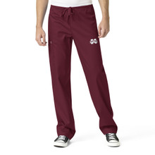 Mississippi State University- Bulldogs Maroon Men's Cargo Scrub Pants