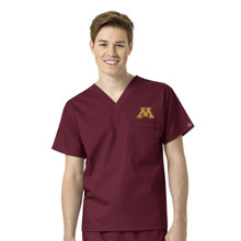 University of Minnesota- Maroon Golden Gophers Men's V Neck Scrub Top