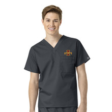Iowa State University-Cyclones Pewter Men's V Neck Scrub Top