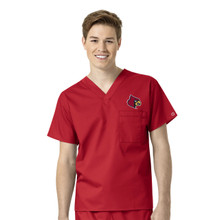 University of Louisville Cardinals Men's V Neck Scrub Top