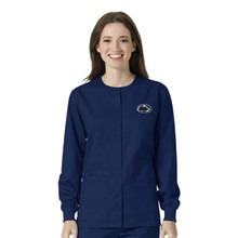 University of Penn State Nittany Lions Navy Warm Up Nursing Scrub Jacket
