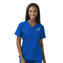 University of Kansas Jayhawks Royal Women's V Neck Scrub Top