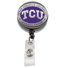 TCU Horned Frogs Retractable Pewter Badge Reel - Licensed TCU Badge Reel