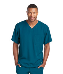 Skechers Men's Structure V-Neck Chest Pocket Solid Scrub Top*