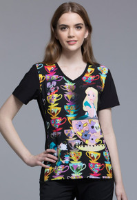 Alice in  Wonderland Tea Cup Scrub Top For Women