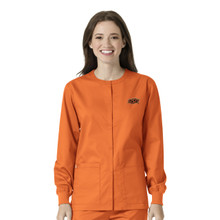 Oklahoma State- Cowboys Orange Women's Nursing Scrub Jacket