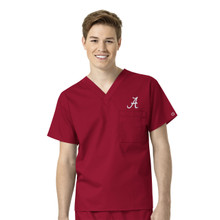 Alabama Crimson Tide Cardinal Men's V Neck Scrub Top