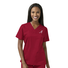 Alabama Crimson Tide Women's Cardinal V Neck Scrub Top