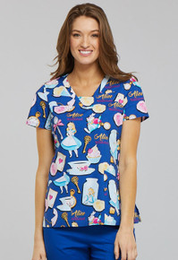 Alice in Wonderland Scrub Top for Women