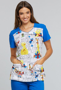 Sesame Scrub Top for Women with Big Bird and the Gang