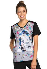 R2D2 Bee Boop Star Wars Scrub Top for Women
