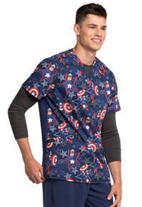 Marvel Comic Blue Captain America V Neck Scrub Top