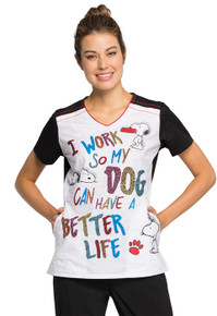 "Snoopy Scrub ""Better Life"" Top for Women"