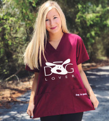 Dog Lover Unisex Scrub Top in Wine