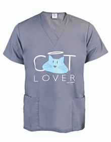Cat Lover Unisex Scrub Top in Grey