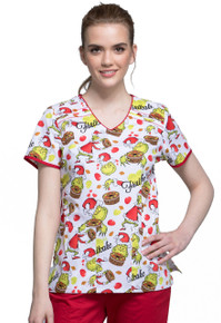 The Grinch Scrub Top For Women