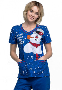 Frosty The Snowman Scrub Top