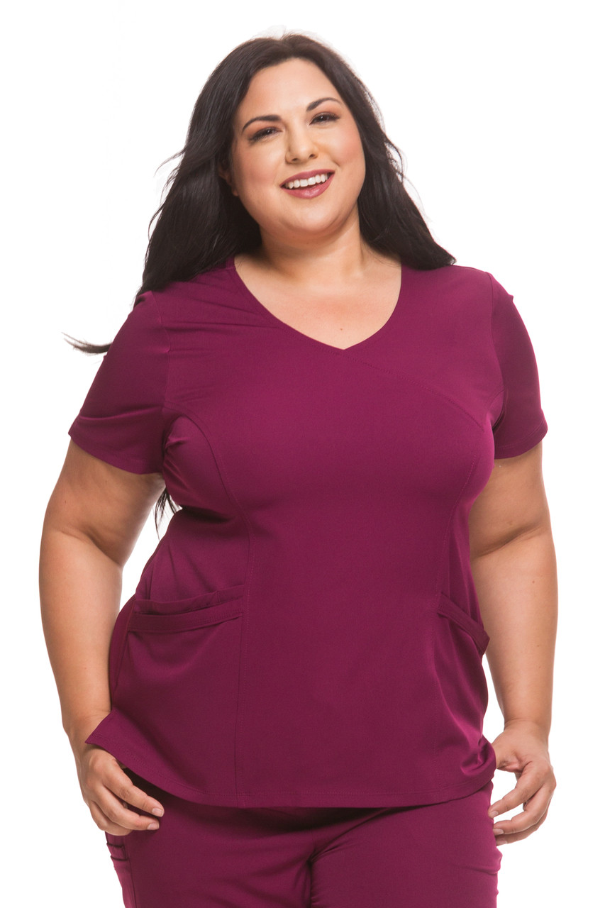 Healing Hands Plus Size Mock Wrap Solid Scrub Top*