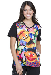 Sesame Street Bert and Ernie Women's Scrub Top