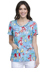 Little Mermaid, Part-Time Mermaid Scrub Top For Women