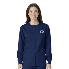 BYU Cougars Warm Up Nursing Scrub Jacket for Women
