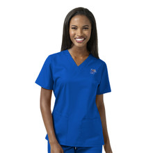 Memphis Tigers Royal Women's V Neck Scrub Top