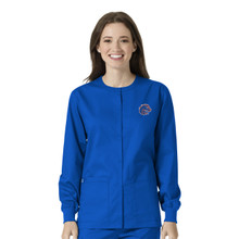 Boise State Broncos Warm Up Nursing Scrub Jacket for Women