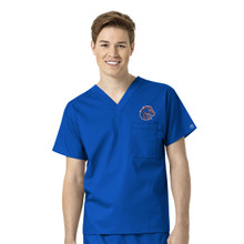 Boise State Broncos Men's V Neck Scrub Top