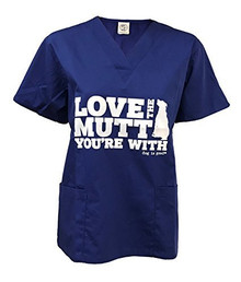 Love the Mutt you are with Unisex Scrub Top in Navy