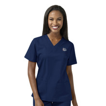 Gonzaga Bulldogs Navy Women's V Neck Scrub Top