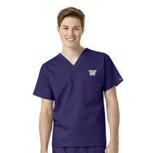 Washington Huskies Grape Men's V Neck Scrub Top