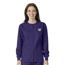 Washington Huskies Warm Up Nursing Scrub Jacket for Women