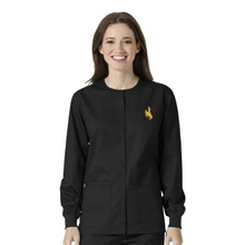 University of Wyoming Cowboys Black Warm Up Nursing Scrub Jacket