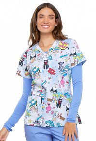 Women's Animal Lover V Neck Scrub Top