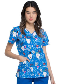 Perfect Smile Mock Wrap Scrub Top