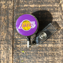 Los Angeles Lakers Purple Retractable Badge Reel
