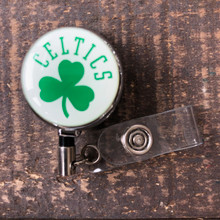 Boston Celtics White Retractable Badge Reel