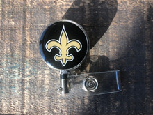 New Orleans Saints Black Retractable Badge Reel