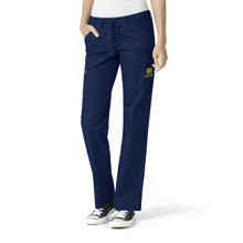 Notre Dame Fighting Irish Women's Cargo Straight Leg Scrub Pants Gold Logo