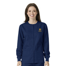 Notre Dame- Fighting Irish Navy Warm Up Nursing Scrub Jacket gold logo