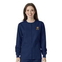 Notre Dame- Fighting Irish Navy Warm Up Nursing Scrub Jacket gold logo