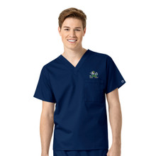 Notre Dame Fighting Irish Navy Men's V Neck Scrub Top Leprechaun Logo
